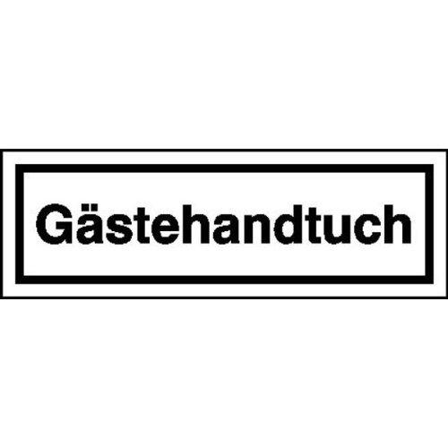 Gästehandtuch Hinweisschild für Gaststätten, Pensionen, Hotels, selbstklebende Folie 6x2 cm