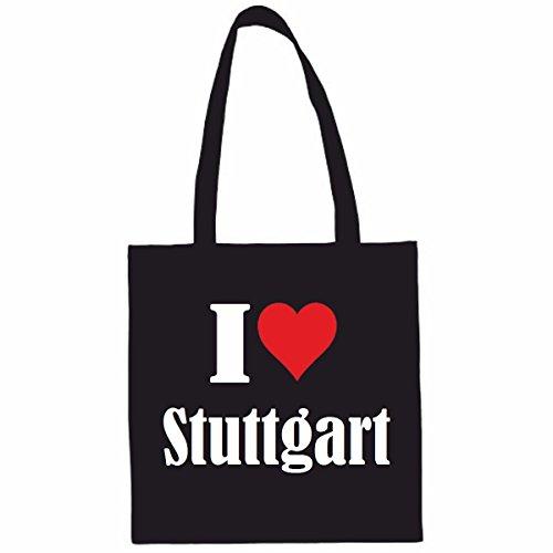 Tasche I Love Stuttgart Größe 38x42 Farbe Schwarz Druck Weiss