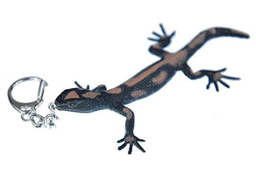 Miniblings Gekko Schlüsselanhänger Salamander Gecko Echse Eidechse Punkte schwarz - Handmade Modeschmuck I I Anhänger Schlüsselring Schlüsselband Keyring