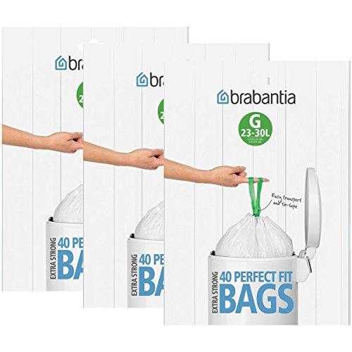 Brabantia - Lote de bolsas de basura (3 cajas de 40 unidades, tipo G, 30L)