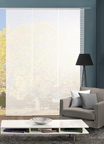 Vision S 88401 | 3er-Set Schiebegardine ROM | halb-transparenter Stoff in Bambus-Optik | 3X 260x60 cm | Farbe: (weiß)