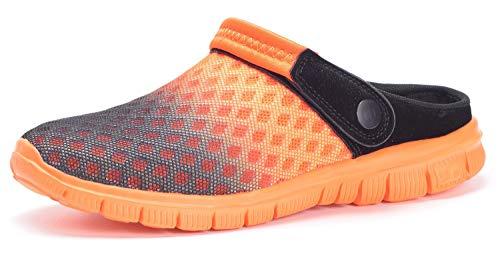 Unisex Hombres Mujeres Zuecos Zapatillas de Playa Respirable Malla Ahueca hacia Fuera Las Sandalias Zapatos Vernano - Negro Naranja, 39 EU