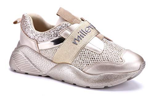 Schuhtempel24 Damen Schuhe Low Sneaker Gold flach Glitzer/schlupf