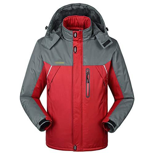 YuanDian Herren Winter Outdoor Wanderjacke Wasserdicht Jacke Große Größe Warm Fleece Gefüttert Regenfest Winddicht Atmungsaktiv Regenjacke Trekking Skijacke Funktionsjacke Rot XL