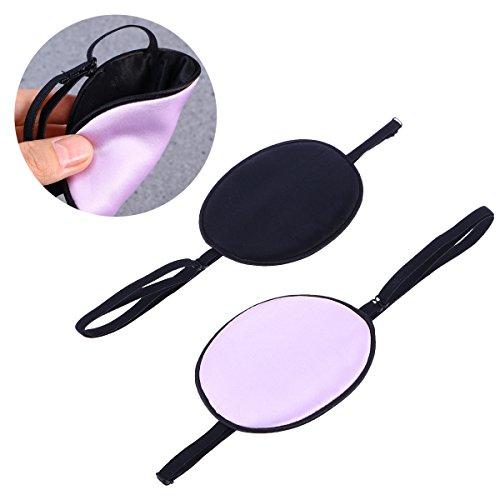 ULTNICE 2 piezas parche de ojo de seda Parches oculares elásticos Parches oculares para adultos Lazy Eye Amblyopia Strabismus