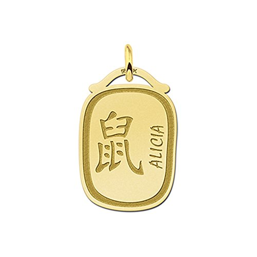 Namesforever hanger Chinese sterrenbeeld ratte van goud met naamgravure
