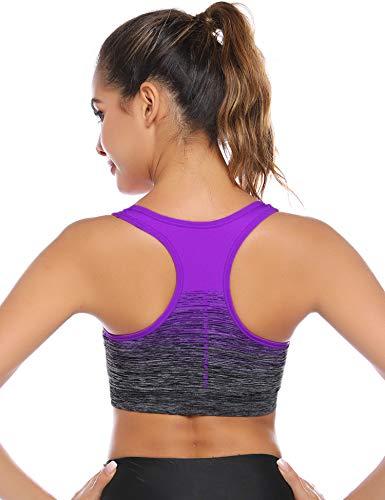 Sykooria Damen Sport BH GepolstertBustier Damen BH ohne Buegel Racerback Push up BH mit Farbverlauf Sport Top für Yoga Fitness