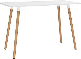 Dioche Table de salle à manger carrée en bois de hêtre avec 4 pieds 120 x 60 x 75 cm