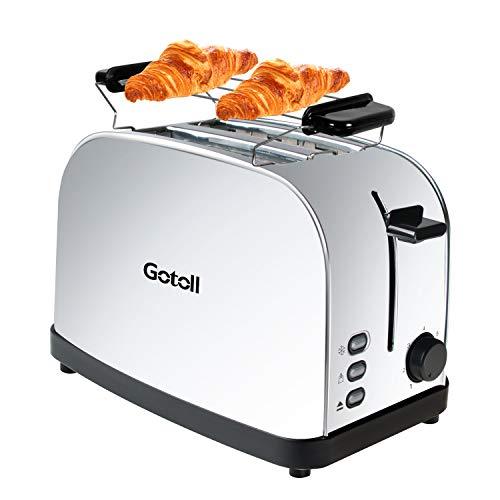 Gotoll Toaster 2 Scheiben, Aufwärmen und Abbrechen Funktionen für Toastbrot, mit Brötchenaufsatz, Brötchen, Sandwich