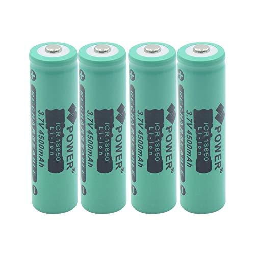 TTCPUYSA Batería De Iones De Litio De Litio Superior con Botón ICR 18650 De 3.7v 4500mah, BateríAs De Repuesto De Linterna Recargable para Faros Delanteros 4pieces