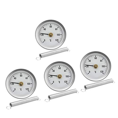 4 x Rohr Thermometer Temperaturanzeige mit Clip-On Feder 0-120 ℃ 63mm
