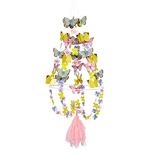 Talking Tables-Lustre Papillon 3D en colores pastel | Decoración colgante de alambre | Fiesta de cumpleaños de hadas, accesorios de dormitorio para niñas, (TSFAIRY-CHANDELIER)