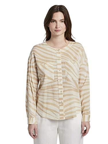TOM TAILOR mine to five Damen Taschenbluse Bluse, 22794-ecru Zebra Design, 40