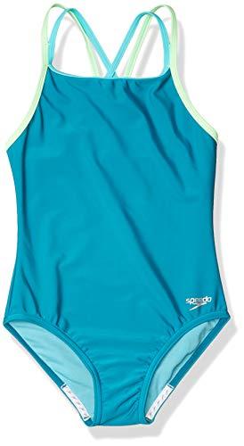 Speedo Girls' Swimsuit-Solid One Piece, Multi Straps, Capri Breeze, 12