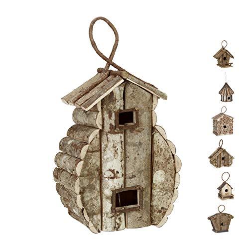 Relaxdays Deko Vogelhaus zum Aufhängen, unbehandeltes Holz, Balkon, Garten, Nistkasten HxBxT: 39 x 21 x 14 cm, Natur