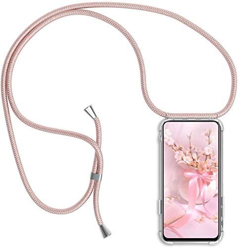 Funda con Cuerda para Xiaomi Mi MAX 3 Funda con Cadena para Teléfono Móvil con Correa Ajustable Transparente TPU Silicona Carcasa con Collar de Cordón Funda con Cordón de Colgar,Rosado