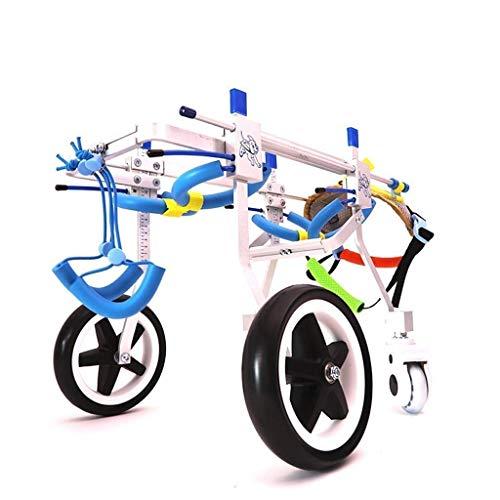 Silla de ruedas con patas traseras para mascotas, rueda ajustable para perros de 4 ruedas, tratamiento asistido ortopédico para mascotas con artritis y displasia de cadera (1-50 kg) XXS-M (tamaño: