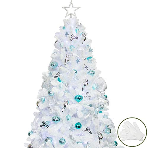 KI Store Artificial White Christmas Tree with Ornaments and Lights Blue and White Christmas Decorations Including 6 Feet...