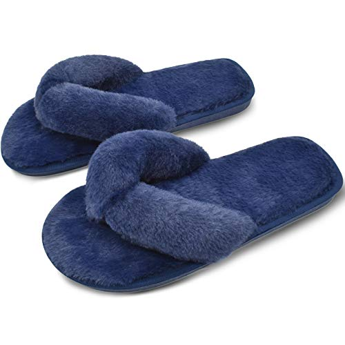 COFACE Damen Elegantes Bett Hausschuh Warmer Plüschfell flip Flops Baumwolle Pantoffel rutschfeste Schuhe für Herbst/Winter in 4 Farben (EU 40/41, Blau)