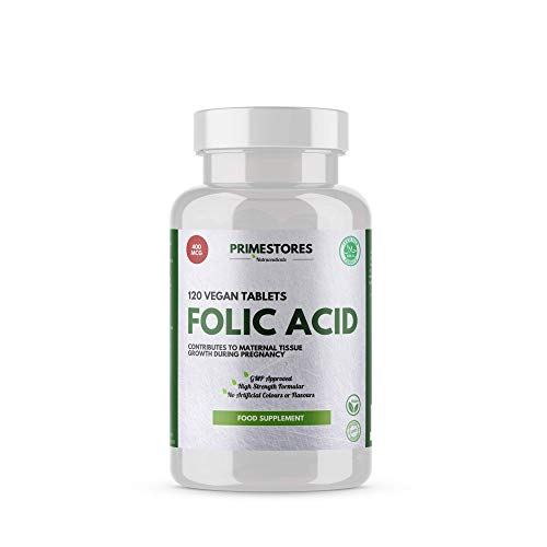 Folic Acid Vitamins for Men and Women 400mcg - 120 Vegan Tablets - Halal Adult Pills with Iron B D Vitamins Supplements by Primestores