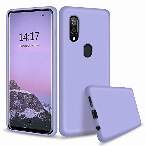Leton-US Samsung Galaxy A20/A30 Phone Case,Soft Slim Liquid Silicone Case Gel Rubber Bumper Case Shockproof with Microfiber Lining Protective Case Cover for Samsung Galaxy A20/A30 Purple