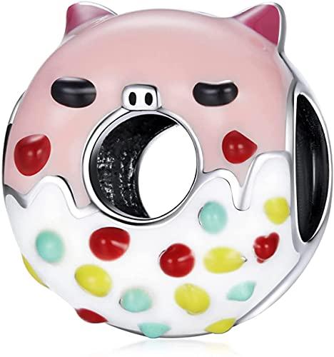 X&Z-XAOY Pink Piggy Donuts Charm Colgante, 925 Cuenta De Encanto De Plata Esterlina para Todas Las Pulseras Y Collares Europeos, Bricolaje Haciendo Joyas