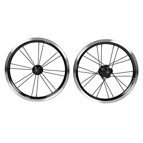 Aigend Radsatz - 14-Zoll-Klapprad-V-Bremse 9T Stahlzahn-Einzelradsatz Kleiner Radsatz für V-Bremsen-Fahrradradsatz(schwarz)