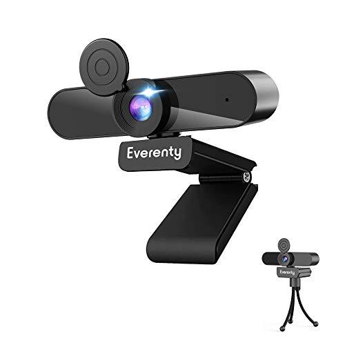 Everenty Webcam PC 1440P Full HD Webcam con Micrófono Estéreo,Webcam para Videollamadas, Estudiar en Línea,Grabación y Conferencias,Cámara USB,fácil de Instalar,Compatible con Windows, Mac y Android