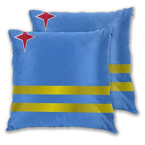 Jack16 - Set di 2 federe per cuscino con bandiera dell'Aruba, 45,7 x 45,7 cm, per decorazioni natalizie