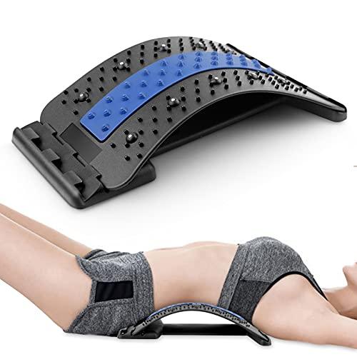 Piroir Rückenstrecker, Back Stretcher, 3 Stufen Einstellbar Rückenmassage Unterstützung, Rückenmassage Unterstützung mit Magnetischen Perlen, Rückendehner zur Rückenschmerzlinderung Haltungskorrektur