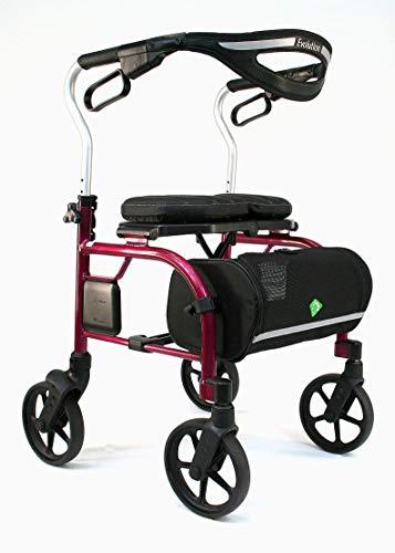 Evolution Trillium Lightweight Medical Walker Rollator with Seat, Large Wheels, Brakes, Backrest, Basket for Seniors Indoor Outdoor use (Shiraz Red, Tall)