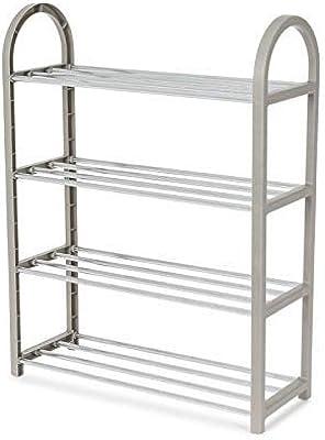 Color : B 4-Tier Stackable Metal Rack Flat /& Slant Adjustable Shoe Organizer Shelf for Closet Bedroom Entryway SCDXJ Shoe Rack