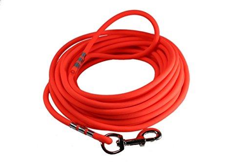 LENNIE Easycare Schleppleine 8 mm RUND, 5-15 Meter (10 m), Neon-Orange, mit Handschlaufe (wasserfest & pflegeleicht durch PVC-Ummantelung)