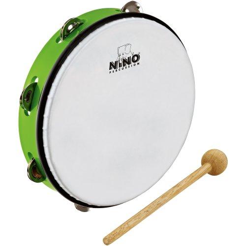 Nino Percussion NINO24GG ABS Tamburin mit Jingles 25,4 cm (10 Zoll) grasgrüm