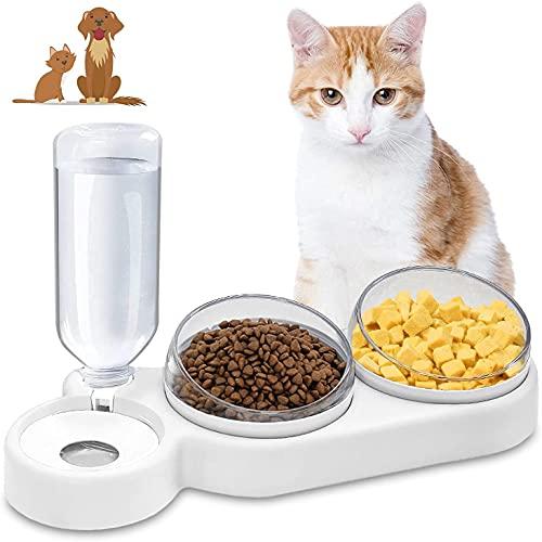Ciotole per Gatti, 3 in 1 Doppio Gatto Ciotola, Ciotola per Cani Gatti con Supporto Rialzato, Riduce la Pressione sulle Vertebre Cervicali del Gatto,Perfetta per Gatti e Cani di Piccola Taglia