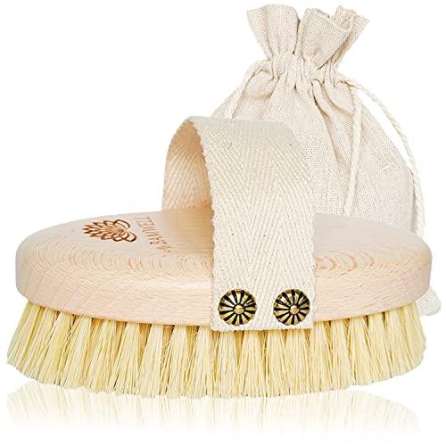 MyBamwell Cepillo Cerdas Naturales De Sisal, Masaje Exfoliante De Cuerpo Seco, Cepillos Para El Corporal, Vegano Cellulite Massager Piel, Dry Brushing Body Brush