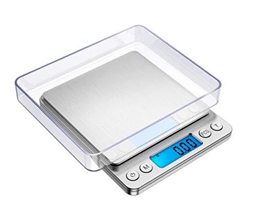 Báscula de Cocina Digital, báscula de Peso de Alimentos de Acero Inoxidable,báscula de cocción de Alta precisión, báscula de Bolsillo Mini 2000g x 0.1g, portátil báscula de joyería pequeña