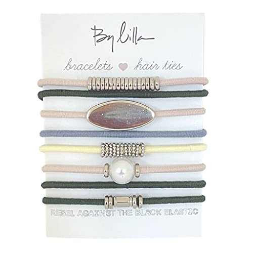 By Lilla Gala Stack Elastic Hair Ties and Bracelets | Set of 8 Hair Tie-Bracelets | Hair Accessories for Women | No Crease Hair Ties & Women's Bracelets (Pink / Green / Blue / Silver / White Pearl)