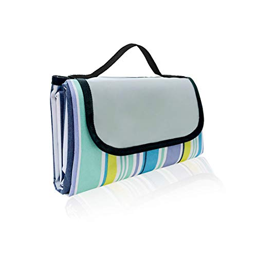 OASMU Beach Blanket 59''x79'' Waterproof Outdoor Picnic Blanket Water-Resistant Handy Mat Tote Spring Summer Striped Great for The Beach,Camping on Grass Sandproof