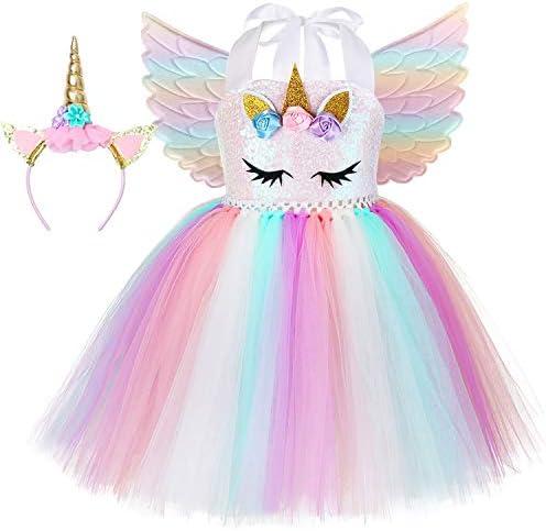 Girl Unicorn Costume Rainbow Unicorn Tutu Dress Outfit Princess Birthday Party Gifts Halloween product image