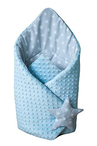 BlueberryShop Minky manta de forro polar para envolver al bebé en el coche, Saco de dormir para bebés recién nacidos, Para bebés de 0-3 meses, 78 x 78 cm, Azules Estrellas