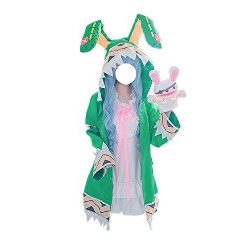 Date A Live Yoshino Cosplay Costume Halloween Carnaval Vert à Capuche à Capuche Manteau Veste avec Accessoires de Haute qualité