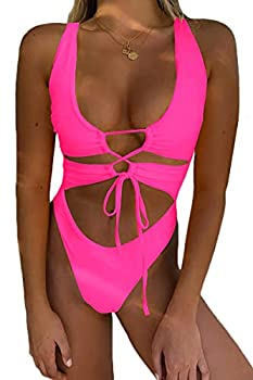 CHYRII Women s Sexy Cutout Lace Up Backless High Cut One Piece Swimsuit Monokini Pink L