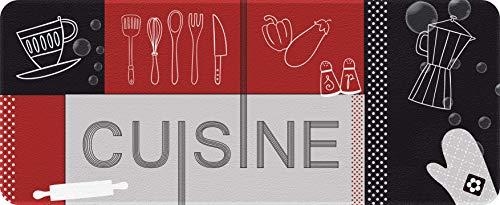 ID MAT Decor Cucina Rosso Nero, Fibre Sintetiche Grigio, 50 x 120