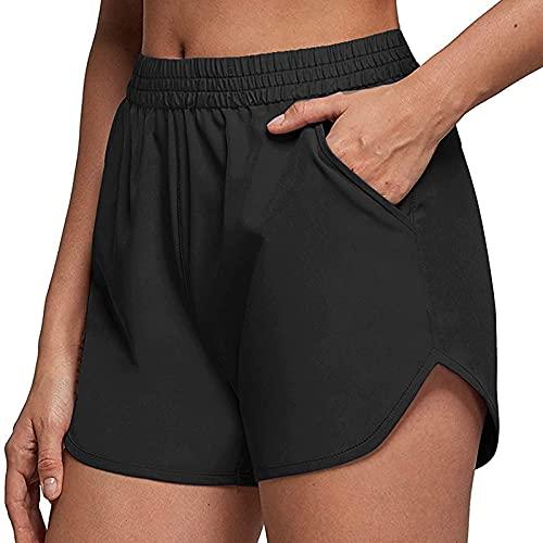 Short Mujer Deporte de Color Liso Pantalón Corto Mujer Deportivos con Bolsillos Pantalones Cortos Mujer Verano Suelta Pantalones Cortos Casual Ideal para Fitness,Yoga y Pilates