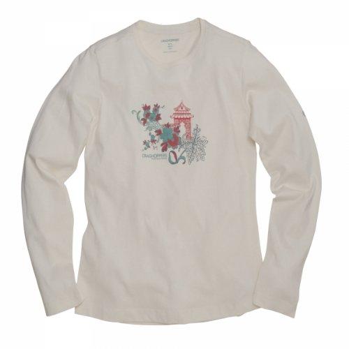 Craghoppers t-Shirt à Manches Longues Graphic pour Femme Beige Crème 10