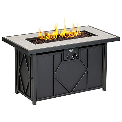 BALI OUTDOORS Outdoor Black 42 inch 60,000 BTU Rectangular Gas Table, Propane Fire Pits