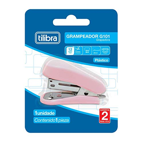 Grampeador 12 Folhas Mini com Extrator G101, Tilibra, Rosa Claro