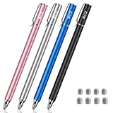 Bargains Depot New 5mm High-Sensivity Fiber Tip Capacitive Stylus Dual-tip Universal Touchscreen Pen for Tablets & Cell Phones with 8 Extra Replaceable Fiber Tips (4-Pack Black/Blue/Gray/Rose Gold)