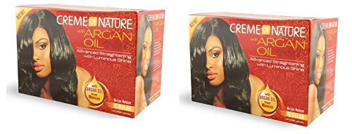 [ PACK OF 2] Creme of Nature with Argan Oil From Morocco Advanced Straightening with Exotic Shine No-Lye Relaxer REGULAR